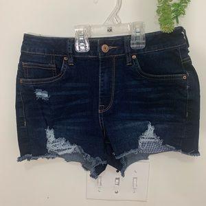 SWS High Rise Frayed Raw-Hem Jeans Denim shorts